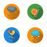 Rain, snow, heat, weathervane. The weather set collection icons in flat style vector symbol stock illustration web. Royalty Free Stock Images