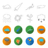 Rain, snow, heat, weathervane. The weather set collection icons in outline,flet style vector symbol stock illustration Royalty Free Stock Image