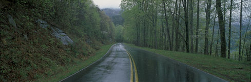 Rain soaked road, Foothill Parkway, VA Stock Photos