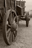 Rain spattered covered wagon in sepia. An interesting perspective on an original covered wagon used by pioneers on the Old Oregon Trail royalty free stock image