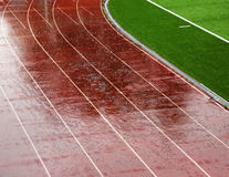 Rain on the stadium Royalty Free Stock Images