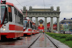 Rain and stilled trams Stock Image