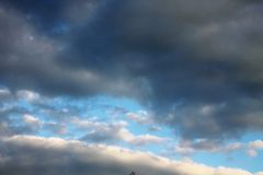 The rain stops and the clouds cleared giving way to a blue sky. royalty free stock image