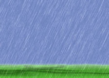 Rain storm backgrounds in cloudy weather with green grass Royalty Free Stock Photos