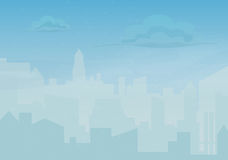 Rain storm and fog in the city. Cityscape silhouette vector illustration. Stock Photography