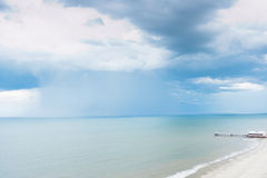 Rain storm over Atlantic ocean Royalty Free Stock Photo
