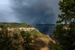 Rain Storm Over Crevice at Grand Canyon North Rim Royalty Free Stock Photos