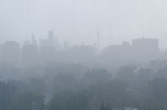 Rain storm over Toronto royalty free stock photo
