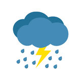 Rain with storm. Weather icon isolated on white background vector illustration