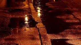 Rain in the street stock footage