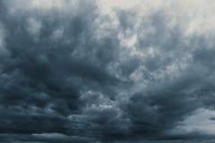 Rain strom cloudy darkness frightening sky. In rainy season black dark color tone Royalty Free Stock Photos