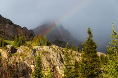 Rain in the summer mountains Royalty Free Stock Photo