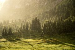 Rain in the summer mountains Royalty Free Stock Photography
