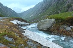 Rain on summer Passo del San Gottardo.(Switzerland). Stock Photography