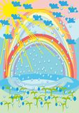 Rain, the sun, rainbow and flowers Royalty Free Stock Photos