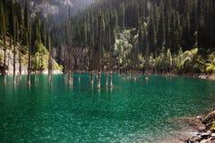 Rain in sunlight on a mountain lake Stock Photography