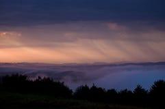 Rain at sunset Stock Photo