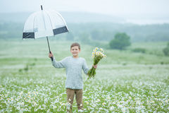 Rain and sunshine with a smiling boy holding an umbrella and running through a meadow of wildflowers dundelions chamomile daisy an Stock Image
