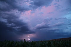 After the rain, there is still lightning in the distance. Very beautiful Royalty Free Stock Photo
