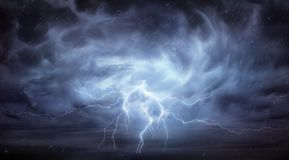 Rain And Thunderstorm. In Dramatic Sky Royalty Free Stock Photos