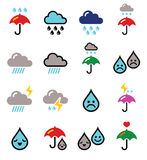 Rain, thunderstorm, heavy clouds   buttons set Royalty Free Stock Photo