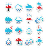 Rain, thunderstorm, heavy clouds  icons set Royalty Free Stock Photography