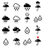 Rain, thunderstorm, heavy clouds  vector icons set Stock Photography