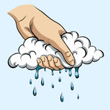 Rain. To squeeze rain out of the cloud stock illustration