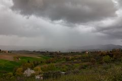 Rain on Toscana countryside. A spring storm and rain on the Toscana countryside near Firenze in April stock image
