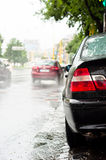 Rain and traffic jam Royalty Free Stock Image