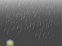 Rain transparent template background. Falling water drops texture.  Stock Photo