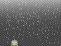 Rain transparent template background. Falling water drops texture.   Stock Photography