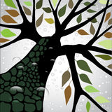 Rain Has Come!. Tree silhouette with falling rain, green leaves and dark green bark, illustration Stock Illustration