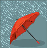 In the rain umbrella vector illustration