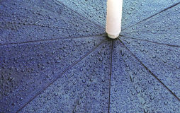 Rain on Umbrella. Rainwater beads on an umbrella stock image