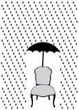Rain and umbrella over chair Royalty Free Stock Photos