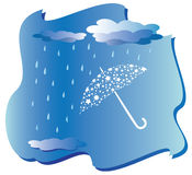 Rain and umbrella - vector. Illustration with rain and umbrella stock illustration