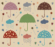 Rain Umbrella Vector with Star and Heart Royalty Free Stock Images