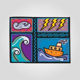 Rain vector illustration flat icon. With ship and waves Stock Images