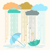 Rain.Vector illustration with stylish flat clouds and umbrellas Royalty Free Stock Photos