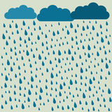 Rain. Vector image with clouds in wet day. Rain pattern. Rain ba. Ckground Royalty Free Stock Photos