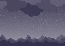 Rain. Vector image with dark clouds in wet day Royalty Free Stock Image