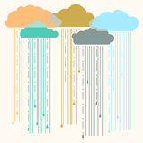 Rain.Vector image with stylish flat clouds Stock Photography
