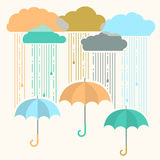 Rain.Vector image with stylish flat clouds and umbrella Stock Photos