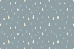 Rain vector seamless pattern, foggy cold autumn. Day. Desaturated colors. Big blue and white raindrops falling from the sky Royalty Free Stock Image