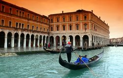 Rain in Venice. Gondola; palazzi; canal grande Stock Photos