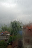 After rain. View through window after rain royalty free stock images