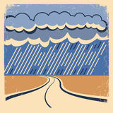 Rain Vintage poster. Royalty Free Stock Photos