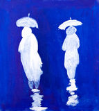 Rain Walkers painting in acrylic by Kay Gale. Rain Walkers painting in acrylic by UK artist Kay Gale Stock Photos