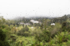 Rain water droplets on glass window with scenic greenery view Royalty Free Stock Photos